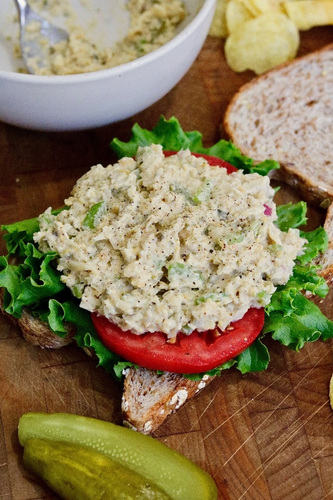 open faced vegan tuna sandwich