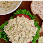 vegan tuna salad on open faced sandwich