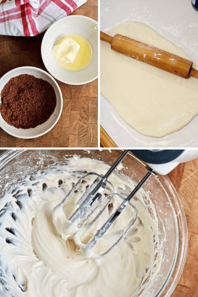 cinnamon roll ingredients picture collage