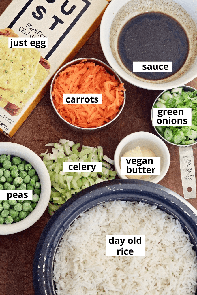 overhead view of fried rice ingredients on cutting board