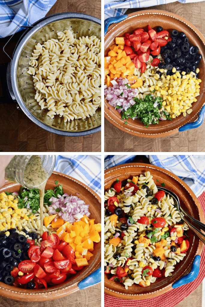 step by step photos how to make vegan pasta salad