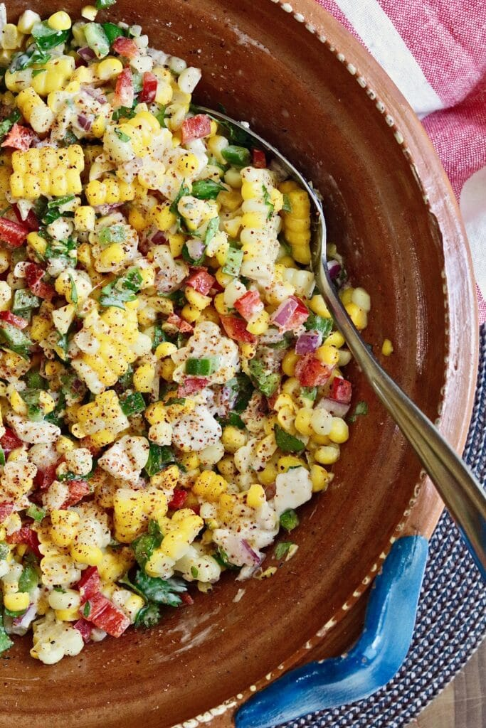 vegan mexican street corn salad ready to serve in a bowl