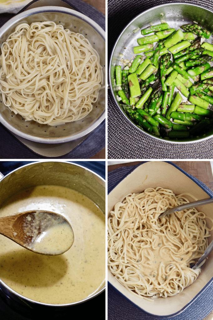 step by step photos how to make vegan lemon asparagus pasta
