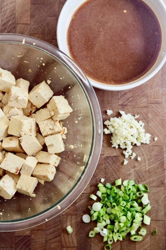 ingredients for general tso tofu set out on cutting board