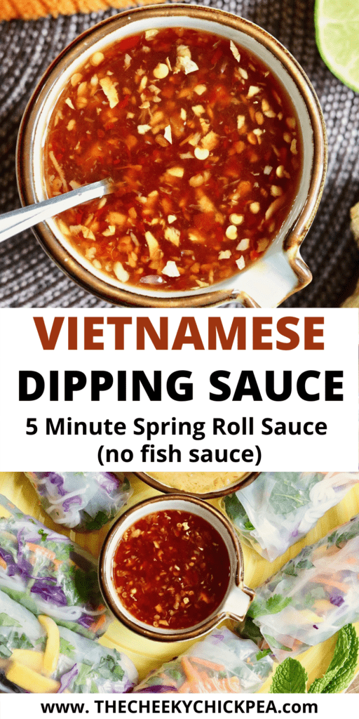 vietnamese dipping sauce in a bowl served with fresh spring rolls