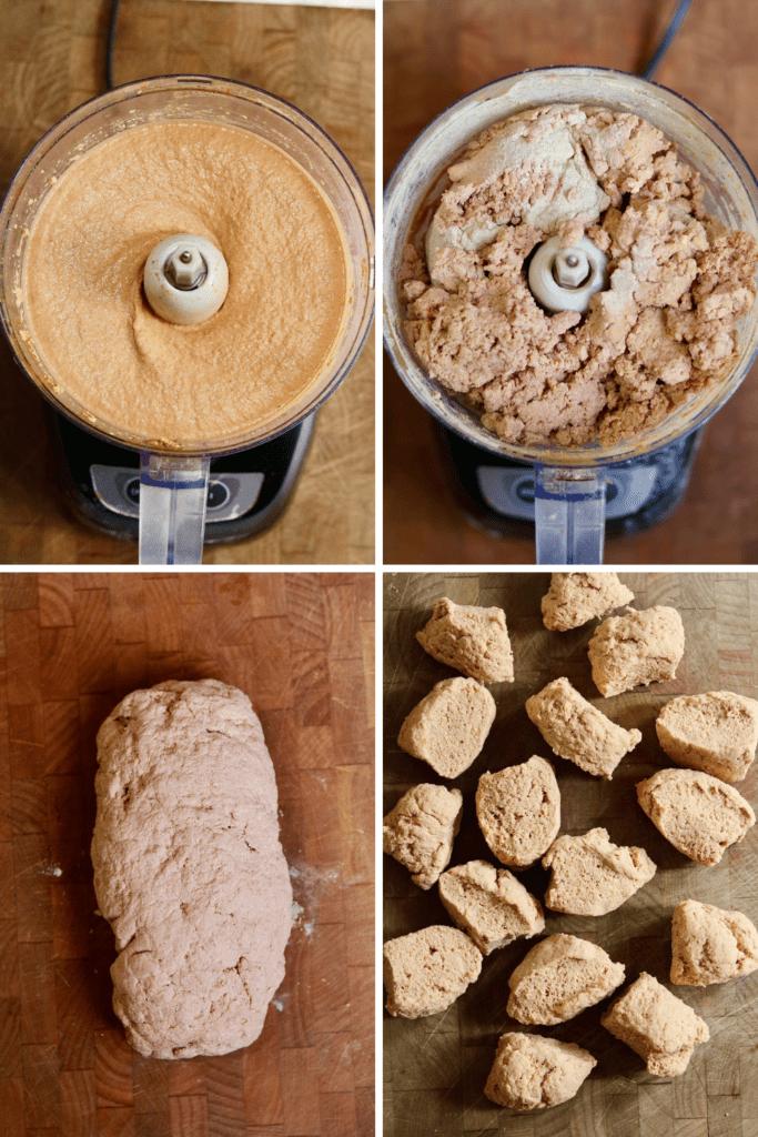 step by step photos how to prepare vegan hot dog seitan dough