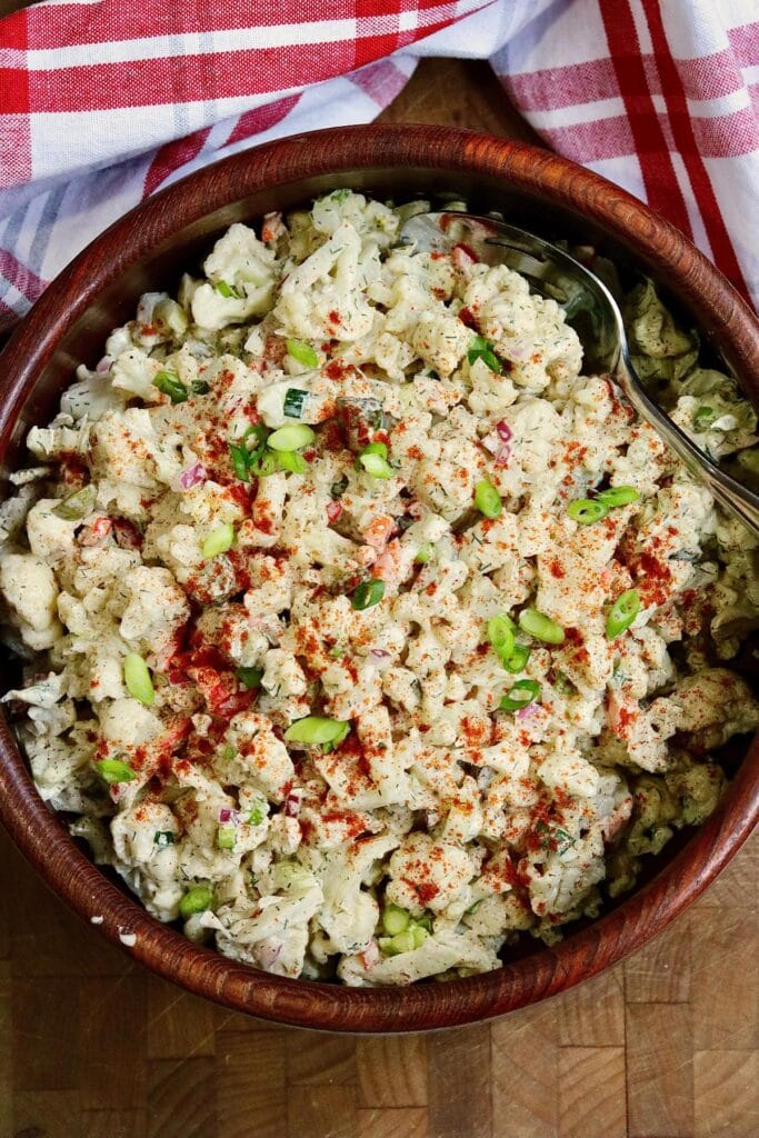cauliflower potato salad in a salad bowl ready to serve