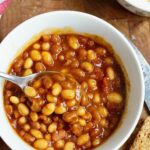 vegan baked beans in a bowl with a spoon
