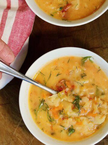 vegan doukhobor borscht soup ready to serve in two bowls