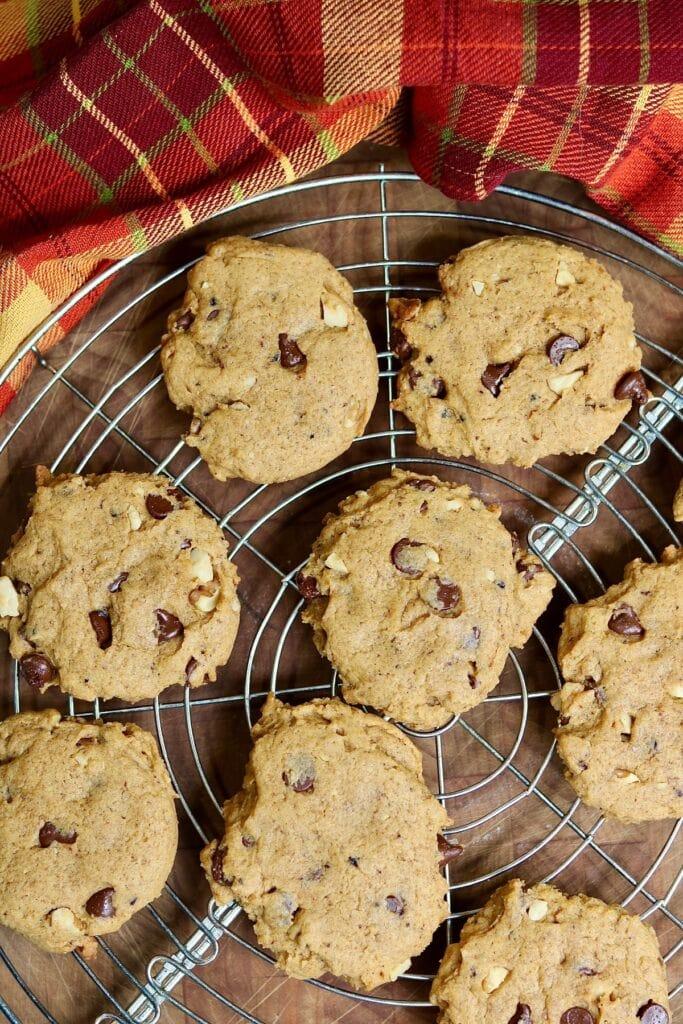 overhead view of pumpkin cookies on counter