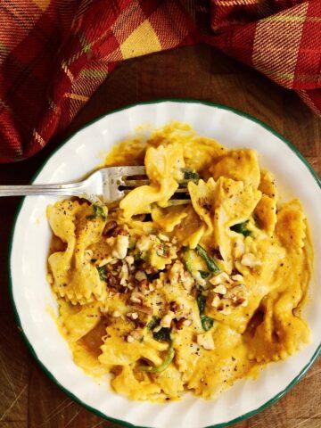 a bowl of pasta noodles tossed with vegan pumpkin pasta sauce
